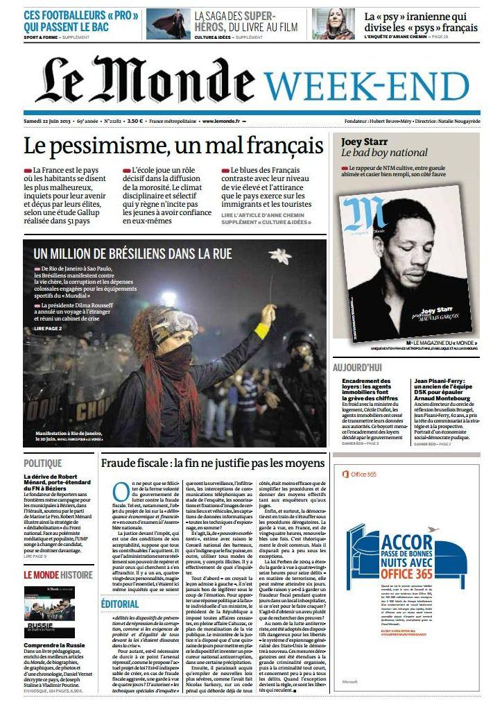 Le Monde et Supplements Week-end du Samedi 22 Juin 2013