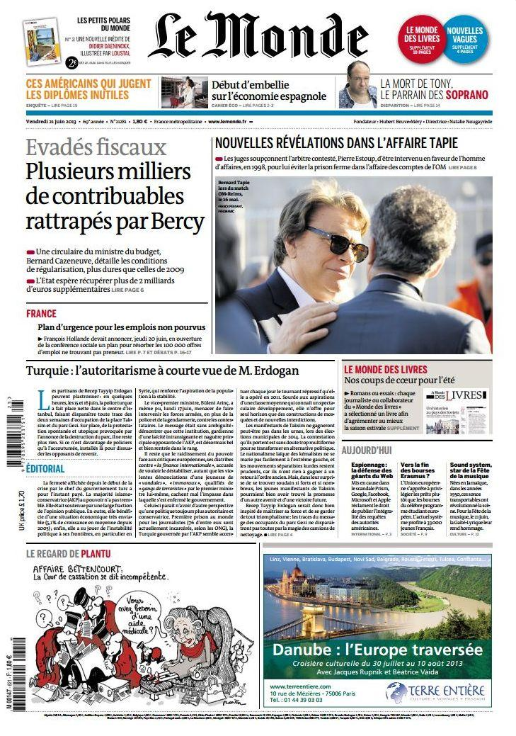 Le Monde et Supplements du Vendredi 21 Juin 2013
