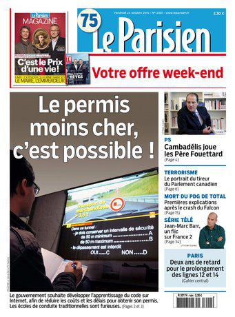 Le Parisien + Journal de Paris du vendredi 24 octobre 2014