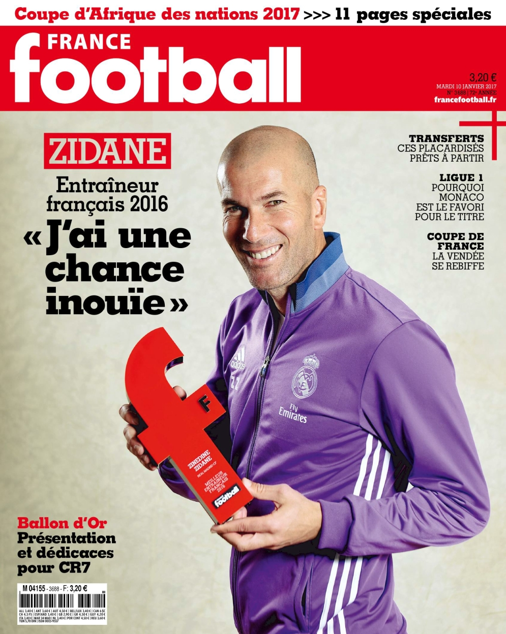 France Football N°3688 - 10 Janvier 2017