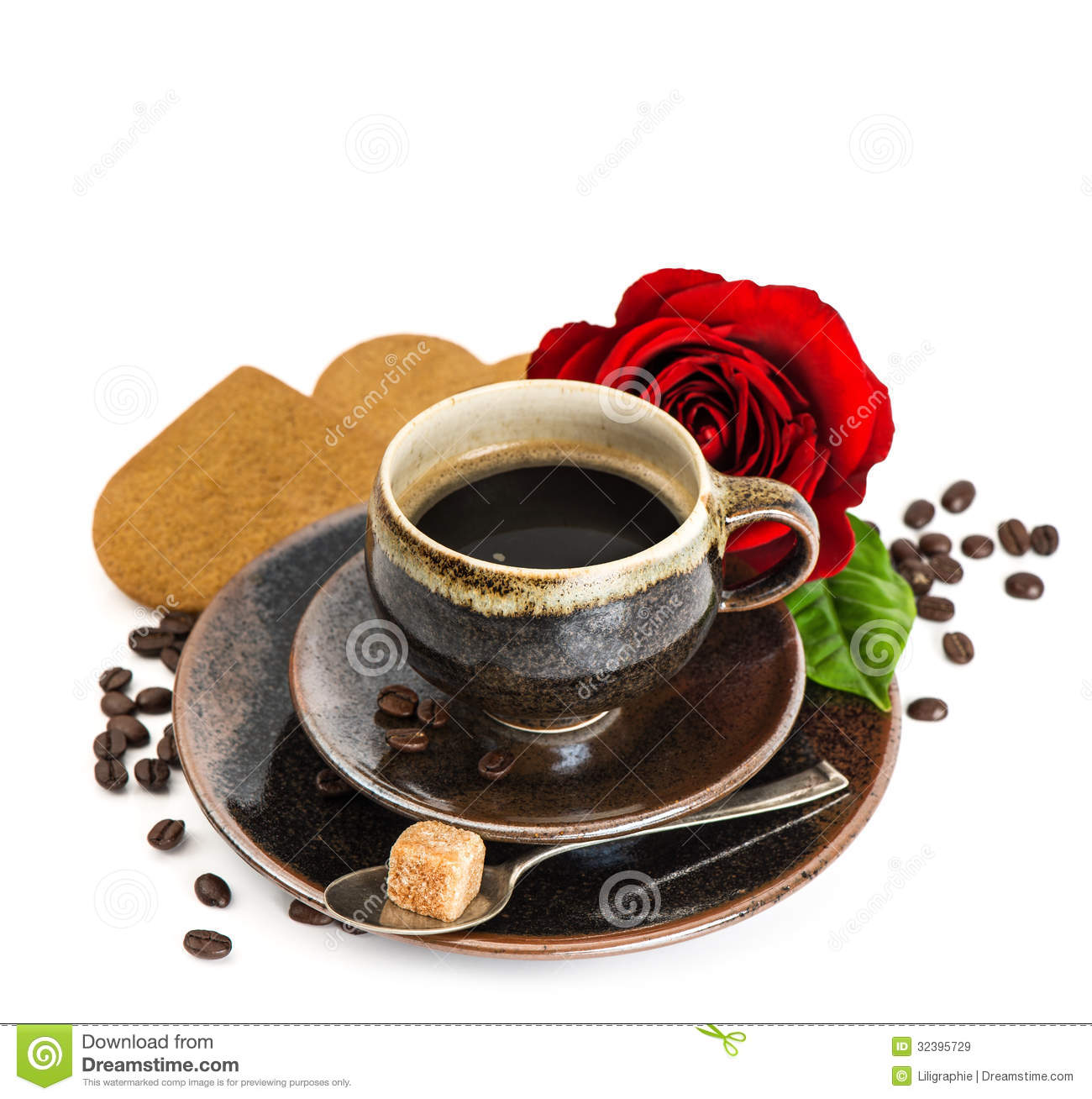 cup-black-coffee-red-rose-flower-cake-white-background-festive-arrangement-selective-focus-32395729